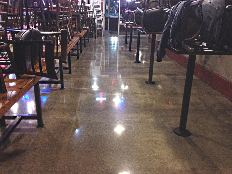 polished cement floors in restaurant